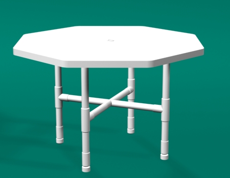 Pvc octogon dining tables for Pvc pipe outdoor furniture