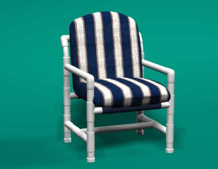 Club Width Cushion Chair With White Or Putty PVC Frame