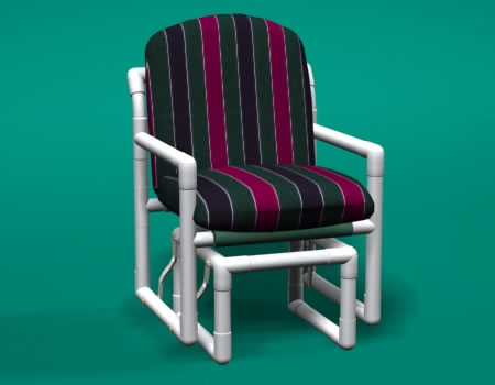 Delicieux Cushion Single Glider Chair With White Or Putty PVC Frame